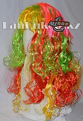 Парик карнавальный разноцветный с желтой челкой 55 см