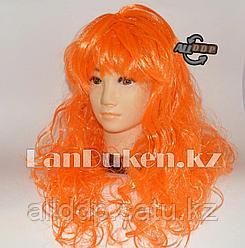 Парик оранжевый с челкой и легкими локонами 58 см