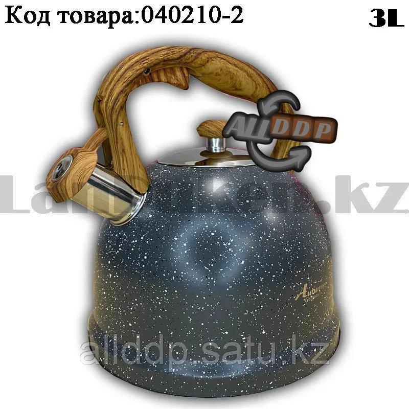Чайник для кипячения воды со свистком эмалированный с подарочной сумкой в комплекте 3 литр цвет серый