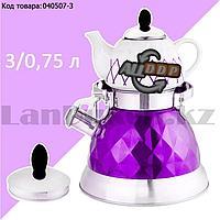 Набор чайный двойной чайник для кипячения воды со свистком и заварочный чайник с ситом А-761Т фиолетовый