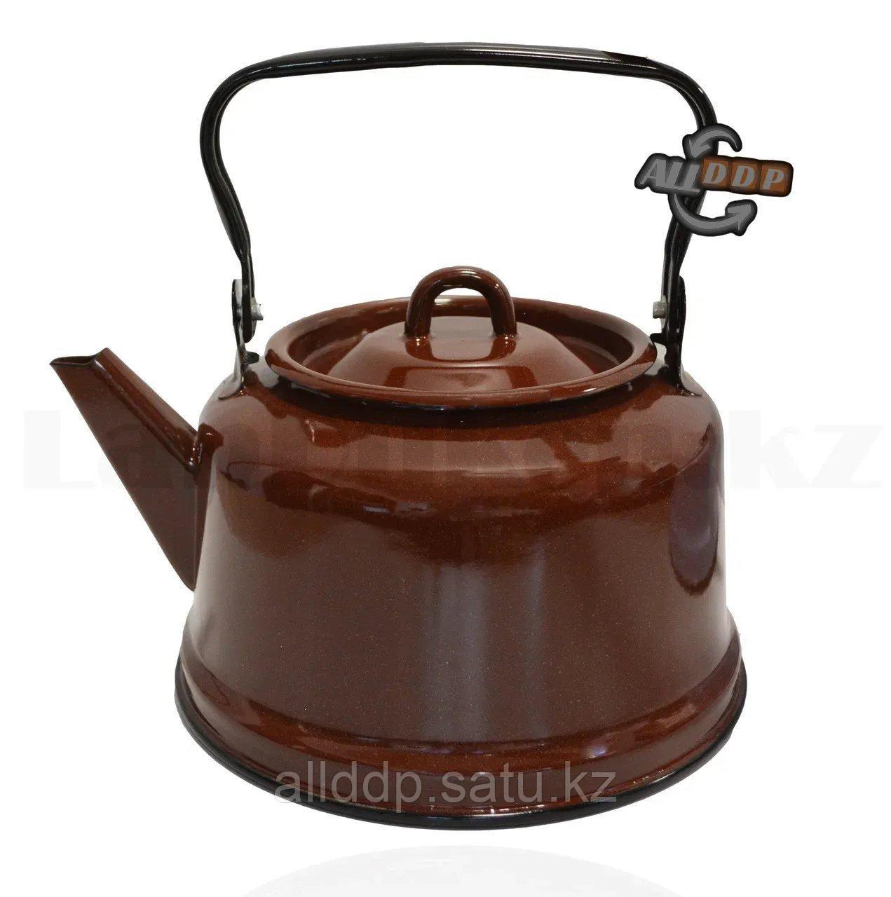 Чайник для кипячения воды эмалированный 3,5 литра коричневый