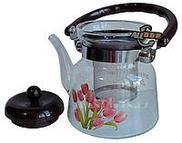 Заварочный стеклянный чайник для чая и кофе 900 ml (Cofee and tea), заварной чайник, чайник для плиты