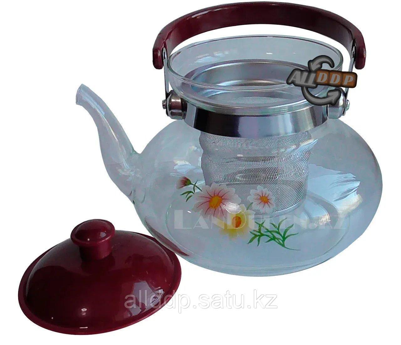 Заварочный стеклянный чайник для чая и кофе 700 ml (Cofee and tea), заварной чайник, чайник для плиты