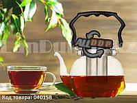 Чайник заварочный стеклянный с ситом из нержавеющей стали 800 мл (YF-6219)