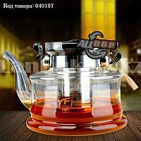 Чайник заварочный стеклянный с ситом из нержавеющей стали 1200 мл (YF6214)