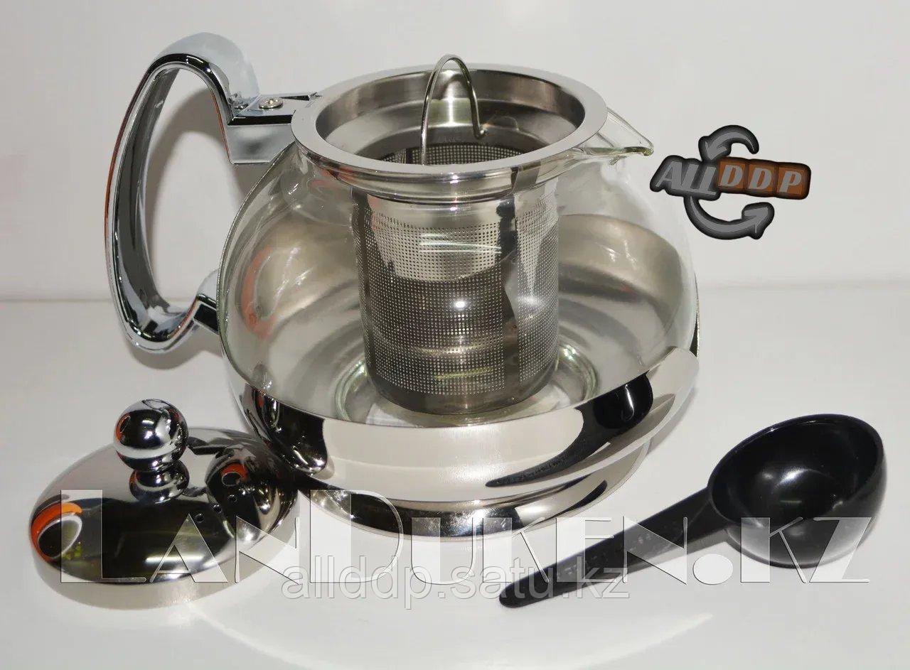 Стеклянный заварочный чайник Jinmeilai с мерной ложкой С 23-1