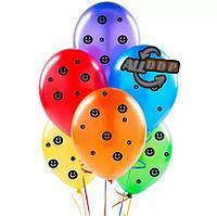 """Воздушные шары разноцветные с черными эмодзи Шарики с улыбкой YuHang 12"""" упаковка 100 шт"""