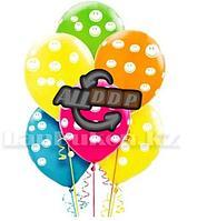 """Воздушные шары разноцветные с рисунками смайлов Шарики с улыбкой YuHang 12"""" упаковка 100 шт"""