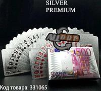 Покерные карты с серебряным напылением Silver Premium 54 Карты игральные сувенирные (евро)