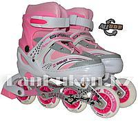 Ролики раздвижные с прошивкой и гелевыми колесами (коньки роликовые) розовые