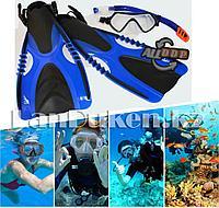 Набор для плавания Seals с чехлом (дыхательная трубка и маска, ласты) синий 00294B