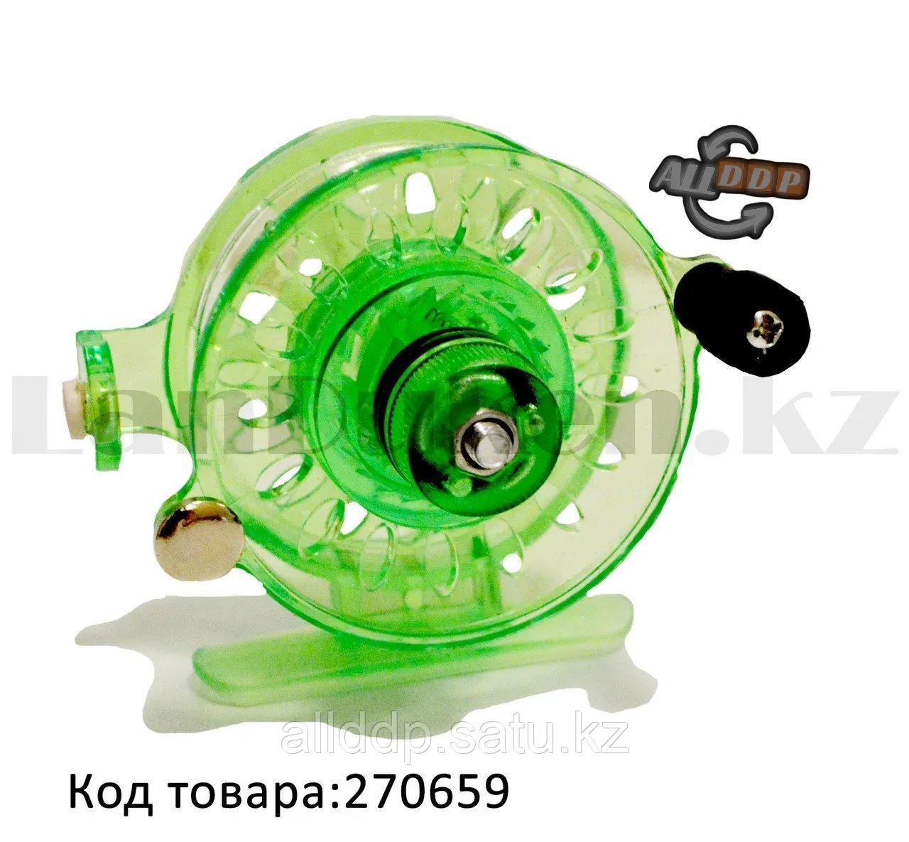 Инерционная катушка с направителем для лески для удочки металлическая зеленая - фото 1
