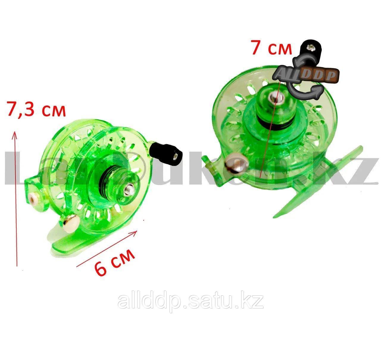 Инерционная катушка с направителем для лески для удочки металлическая зеленая - фото 3