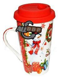 Кружка керамическая с силиконовой крышкой для кофе с новогодним принтом снеговик и подарки