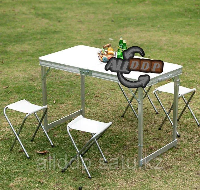 """Раскладной стол и стулья для пикника в чемодане Folding Table """"120* 60* 70 см"""" (туристический столик) светлый - фото 10"""