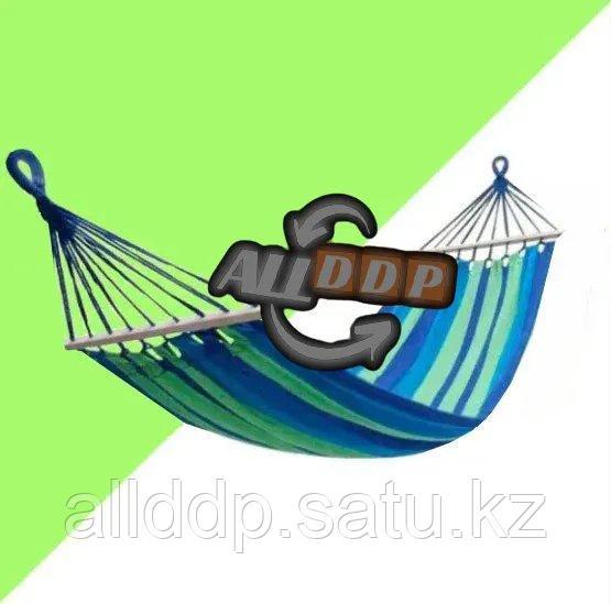 Гамак подвесной складной с деревянными планками 205х150 см в синих оттенках - фото 1