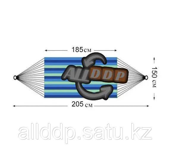 Гамак подвесной складной с деревянными планками 205х150 см в синих оттенках - фото 2