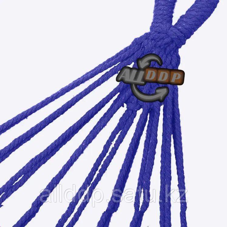 Гамак подвесной складной с деревянными планками 205х150 см в синих оттенках - фото 4