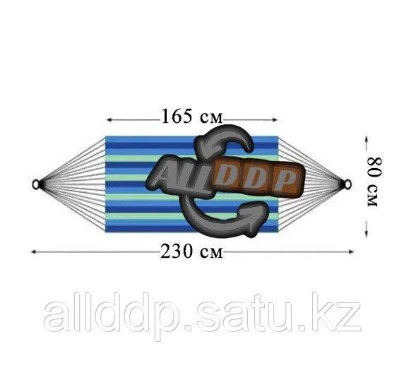 Гамак подвесной складной с деревянными планками одноместный 165х80 в синих оттенках - фото 2