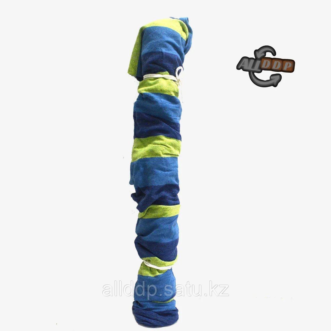 Гамак подвесной складной с деревянными планками одноместный 165х80 в синих оттенках - фото 10