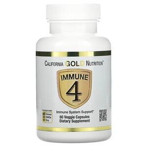 Immune 4, средство для укрепления иммунитета, 60 вегетарианских капсул, California Gold Nutrition