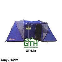 Четырехместная туристическая палатка LANYU LY-1699 (2 комнаты + тамбур). Двухслойная, швы проклеены.