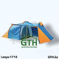 Палатка Lanyu-1710 4-х местная с большим тамбуром и навесом. Двухслойная, швы проклеены.
