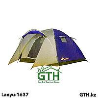 Трехместная туристическая палатка Lanyu-1637. Двухслойная, швы проклеены .