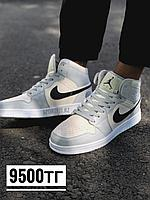 Кроссовки высокие Jordan бело серые 216-5