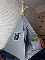 Детская палатка вигвам 4х гранный Серый кролик