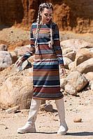 Женское осеннее трикотажное платье Golden Valley 4618 мультиполоска 52р.