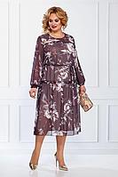 Женское осеннее шифоновое фиолетовое нарядное большого размера платье БагираАнТа 722 54р.