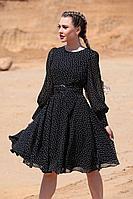 Женское осеннее шифоновое черное платье Golden Valley 4708 черно-белый 46р.