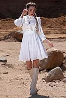 Женское осеннее хлопковое белое платье Golden Valley 4740 молочный 46р.