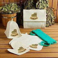 """Набор для бани и сауны 5 в 1(сумка,шапка,варежка,коврик,мочалка),принт """"С легким паром"""",белый"""