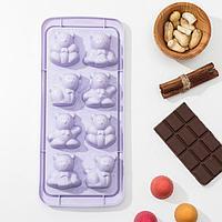 Форма для льда и шоколада «Зверята», 8 ячеек, 25×11×2,5 см, цвет МИКС
