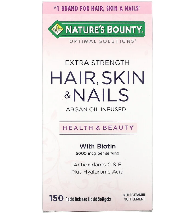 Nature's Bounty, Optimal Solutions с повышенной силой действия,для здоровья волос, кожи и ногтей, 150 капсул