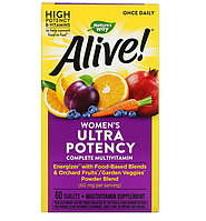 Nature's Way, Alive! Once Daily, полный комплекс высокоэффективных мультивитаминов для женщин, 60 таблеток
