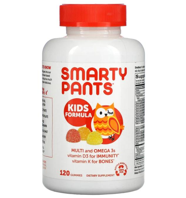 SmartyPants, добавка для детей, жирные кислоты омега-3, клубника, банан, апельсин и лимон 120 жевательных табл