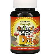 Nature's Plus, Source of Life, Animal Parade, витамин D3, со вкусом натуральной черешни, 500 МЕ, 90 таблеток в