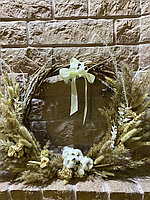 Венок для декора из сухоцветов ,основа натуральная лоза, диаметр 25 см