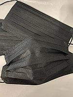 Маска одноразовая трехслойная черная