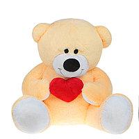 Мягкая игрушка «Мишка большой с сердцем», цвет персиковый
