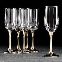 Набор бокалов для шампанского «Венеция», 190 мл, 6 шт, цвет золото,