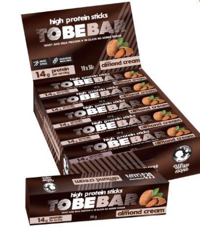 Протеиновые палочки TOBEBAR «Миндальный крем» в шоколаде без сахара 4 палочки, 10шт х 50г (500 г)