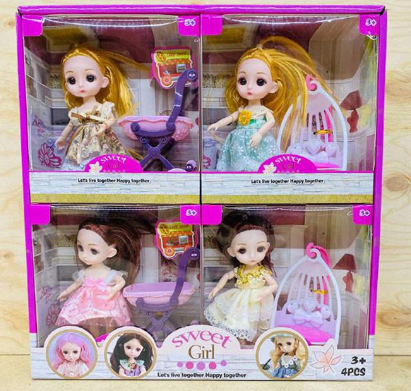 D17-HY8216-1 Кукла качест с коляской,качеля,гаршок 4шт в уп., цена за 1шт 18*17см