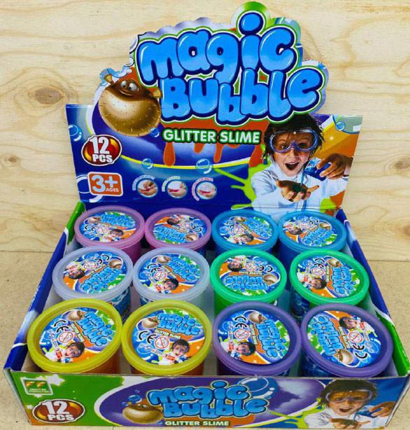6805 Слайм Magic bubble Glitter slime(7*7см) 6 расцветок из 12шт, цена за 1шт