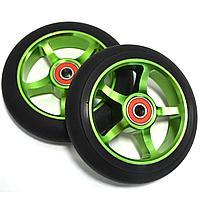 Колеса для трюкового самоката металлические диаметр 110 мм ABEC 9 зеленые
