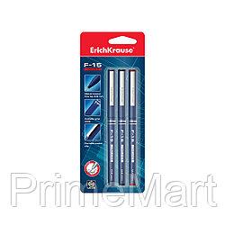 Блистер ручек капиллярных ErichKrause® F-15, цвет чернил: синий, черный, красный (3 ручки)