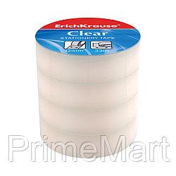 Пакет клейких лент ErichKrause® Clear, 12ммх33м (4 ленты)